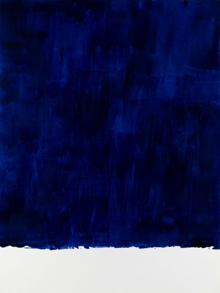 For Fritz (Ultra Blue), acrylic on paper, 18″w by 24″h, 2021 Paul Dodd