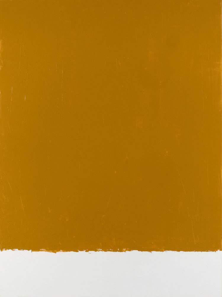 For Fritz (Yellow Ochre), acrylic on paper, 18″w by 24″h, 2021 Paul Dodd