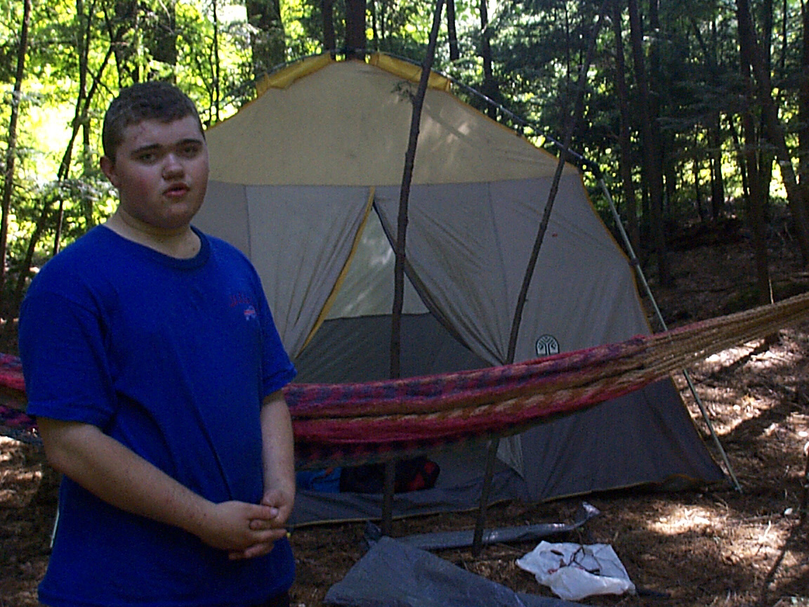 Sam Jones camping at Pete and Shelley's