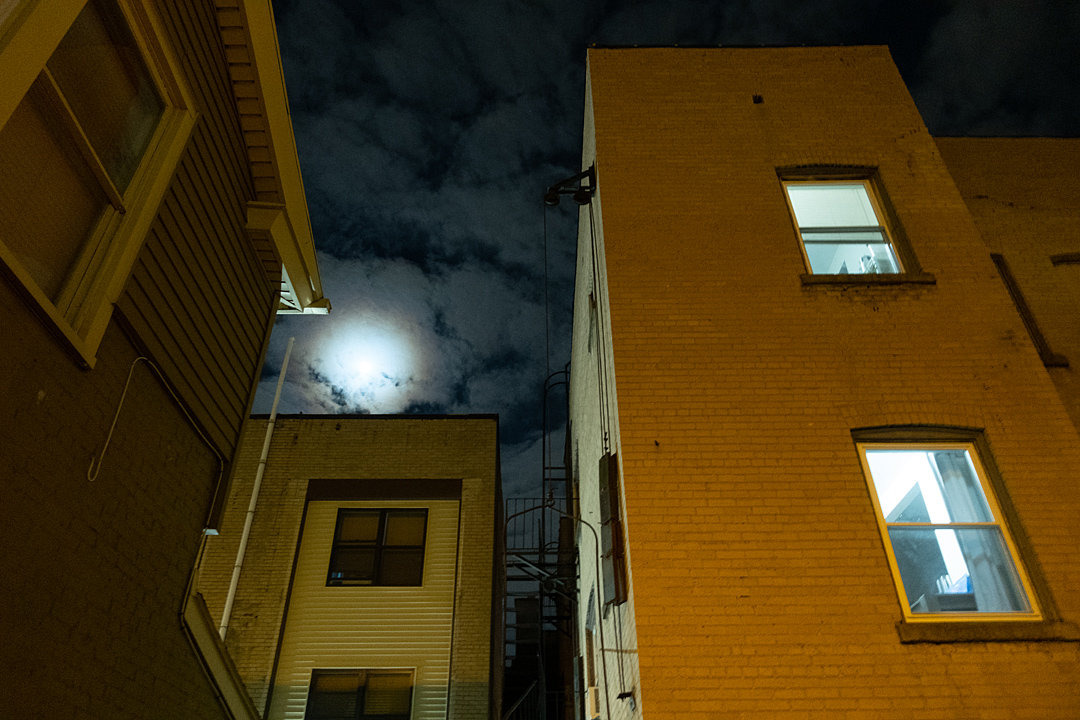 Buildings outside Abilene at night